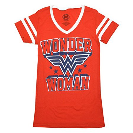 Wonder Woman Blue Logo Womens Junior Varsity V-Neck T-Shirt (X-Large, Red) (Wonder Woman Junior T-shirt)