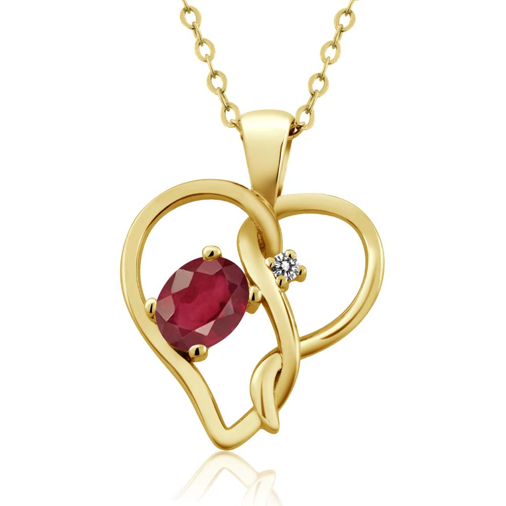 0.66 Ct Oval African Red Ruby White Diamond 14K Yellow Gold Pendant