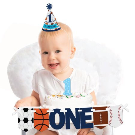 Go, Fight, Win - Sports - 1st Birthday Boy Smash Cake Decorating Kit - High Chair Decorations for $<!---->