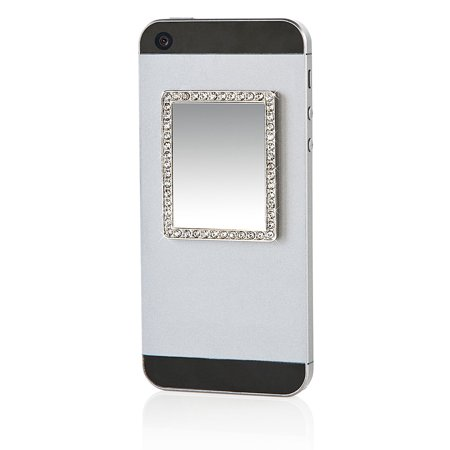 iDecoz Phone Mirror / Reusable Unbreakable Real Mirror Sticks to ALL Cell Phones & Cases Silver Rectangle Crystals iDecoz Phone Mirror / Reusable Unbreakable Real Mirror Sticks to ALL Cell Phones & Cases Silver Rectangle Crystals