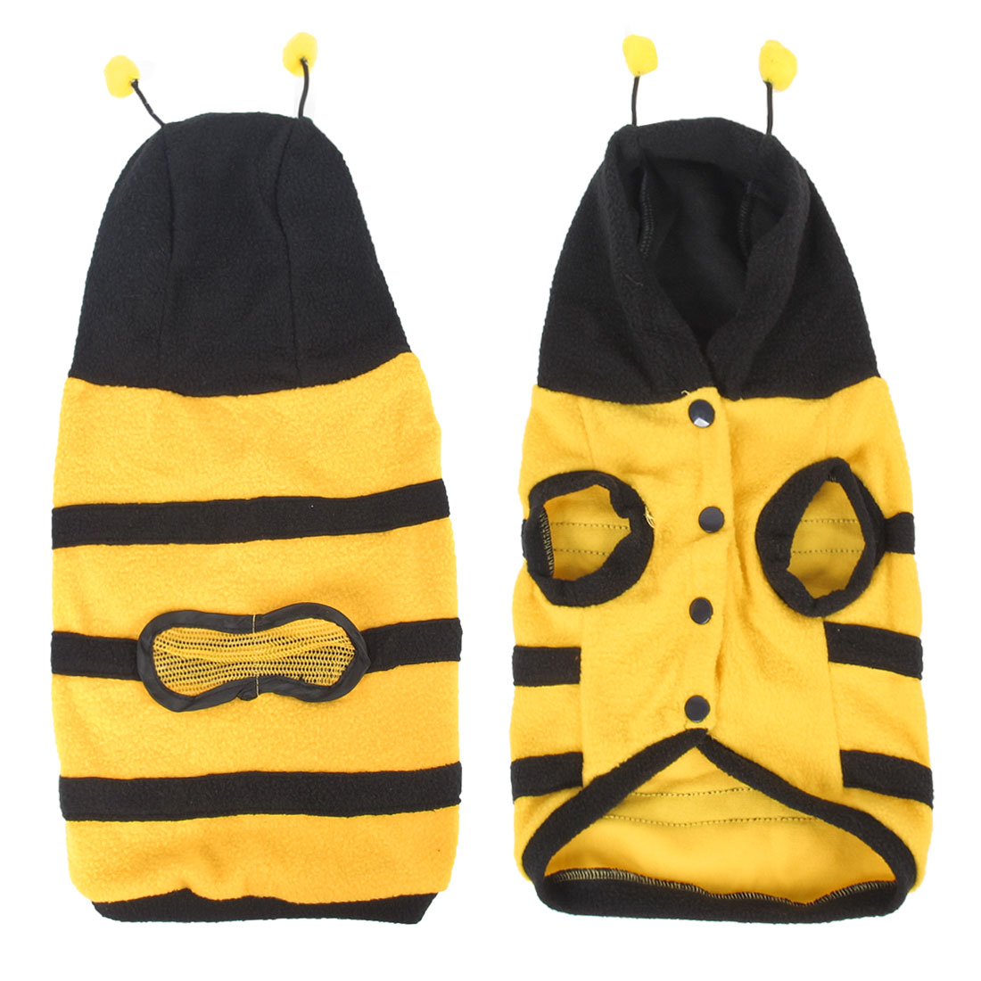 Unique Bargains Pet Cat Dog Yellow Black Single Breasted Bee Shape Hoodie Apparel Coat Size M