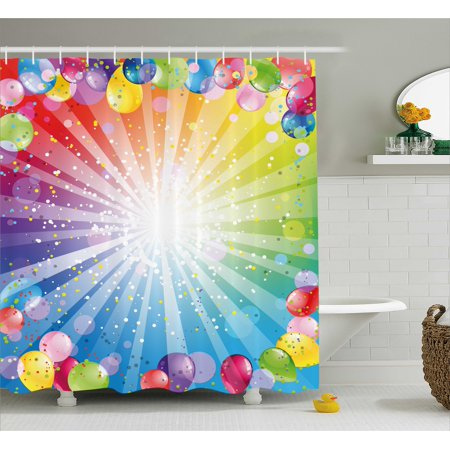 Birthday Decorations Shower Curtain, Festive Striped Backdrop with Balloons Dots Confetti Rain Celebration, Fabric Bathroom Set with Hooks, 69W X 70L Inches, Multicolor, by Ambesonne