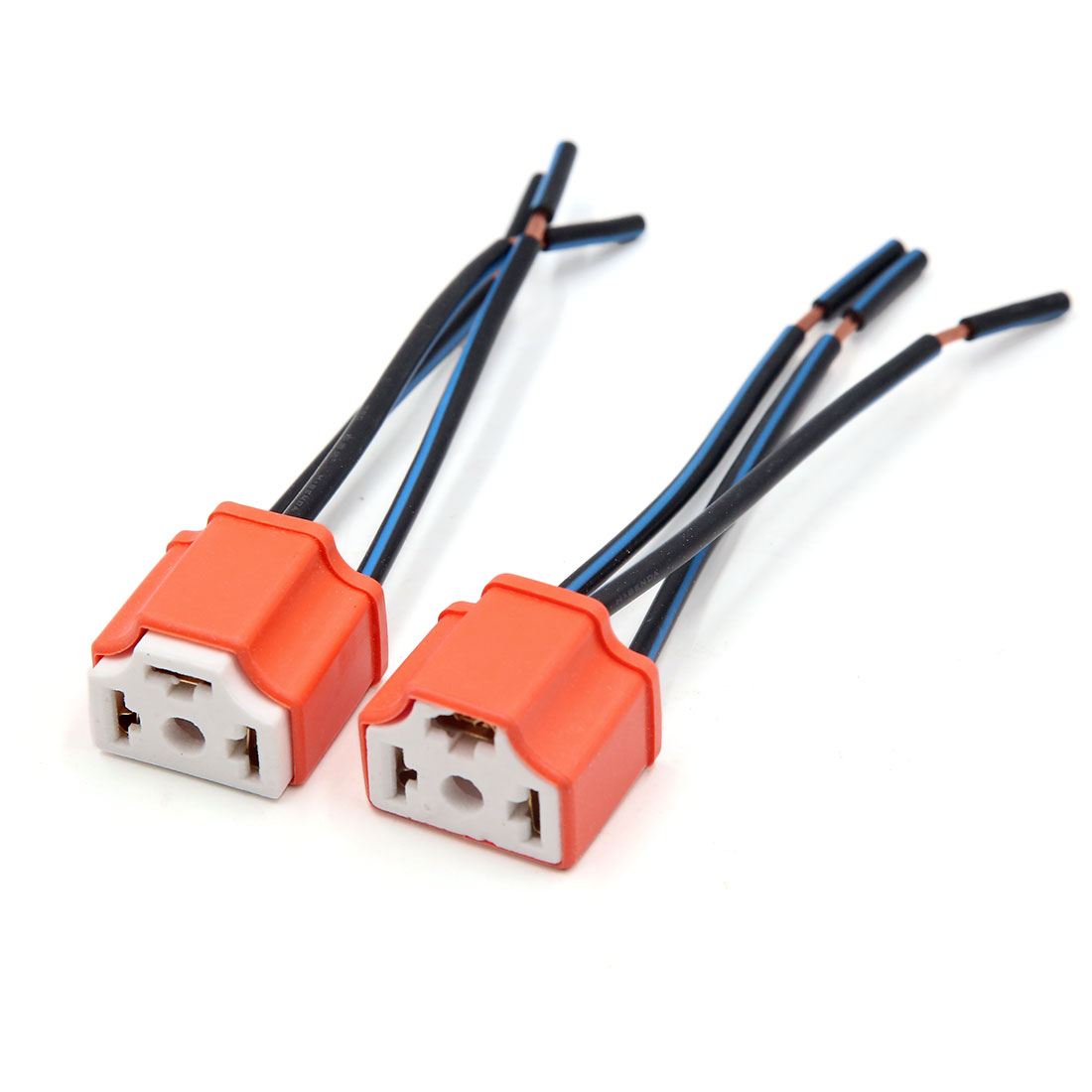 2PCS Orange 3 Terminals H4 Bulb Socket Car Wire Harness Extension Connector