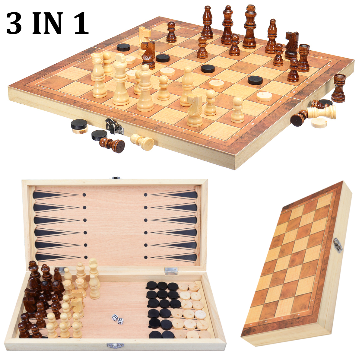 Mrosaa 3 in 1 Folding Wooden Chess Set Board Game Checkers Backgammon Draughts by Mrosaa