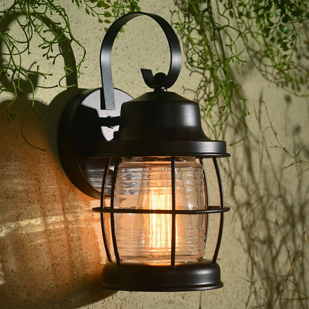 Kenroy Home Traditional 1 Light Outdoor Lantern, 11 Inch Height, Rich Oil Rubbed Bronze Finished Powder Coated Steel, Clear Ribbed Glass Bulb Shield, Edison Bulb Compatible, Easy Installation