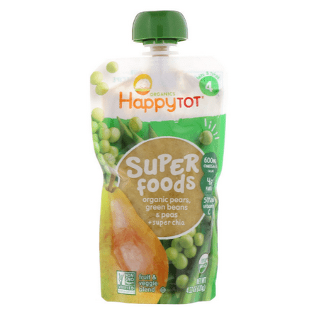 Nurture Inc. (Happy Baby), happytot, Organic Superfoods, Green Bean, Pear and Pea, 4.22 oz (pack of 12)