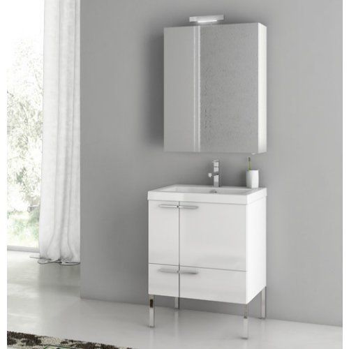 ACF by Nameeks ACF ANS14-GW New Space 23-in. Single Bathroom Vanity Set - Glossy White