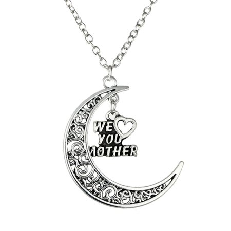We Love You Mother Crescent Moon with Dangling Mom Charm Anti-Tarnish Necklace Pendant  J-272