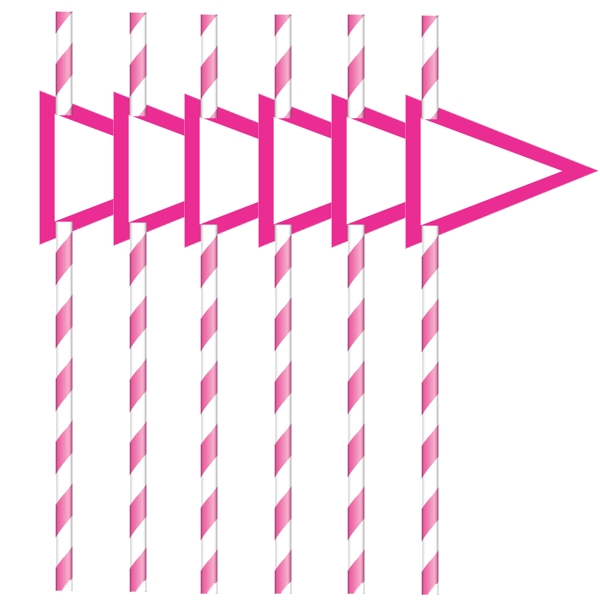 Hot Pink Stripe with Flag Paper Straws (24 ct)