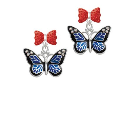 Large Blue Butterfly With 6 Ab Crystals Red Bella Bow Crystal Earrings