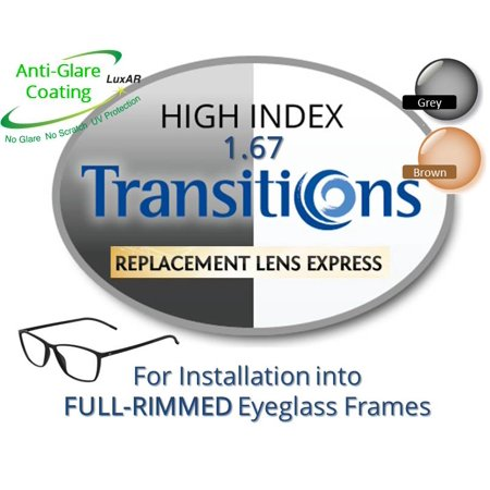 Single Vision Transitions High Index 1.67 Prescription Eyeglass Lenses, Left & Right (a Pair), for installation into your own Full-Rimmed Frames (Anti-Scratch & Anti-Glare Coating (Eyeglasses For High Prescription)