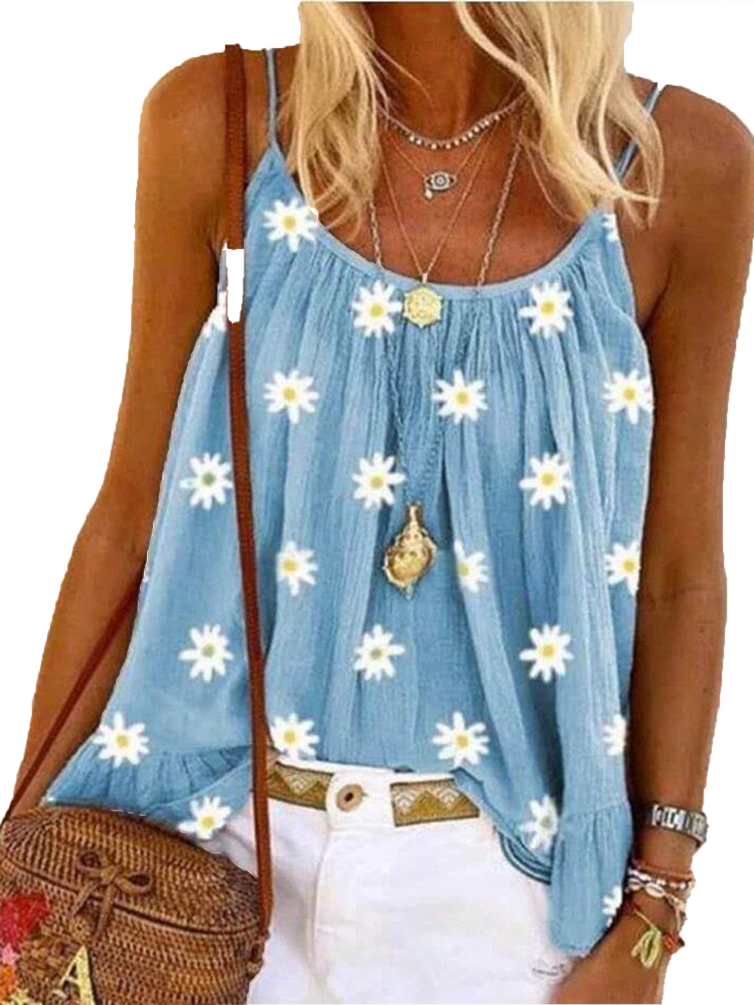 Women Summer Sleeveless Strappy Printed Vest T-Shirt Casual Tank Tops Blouse Tee