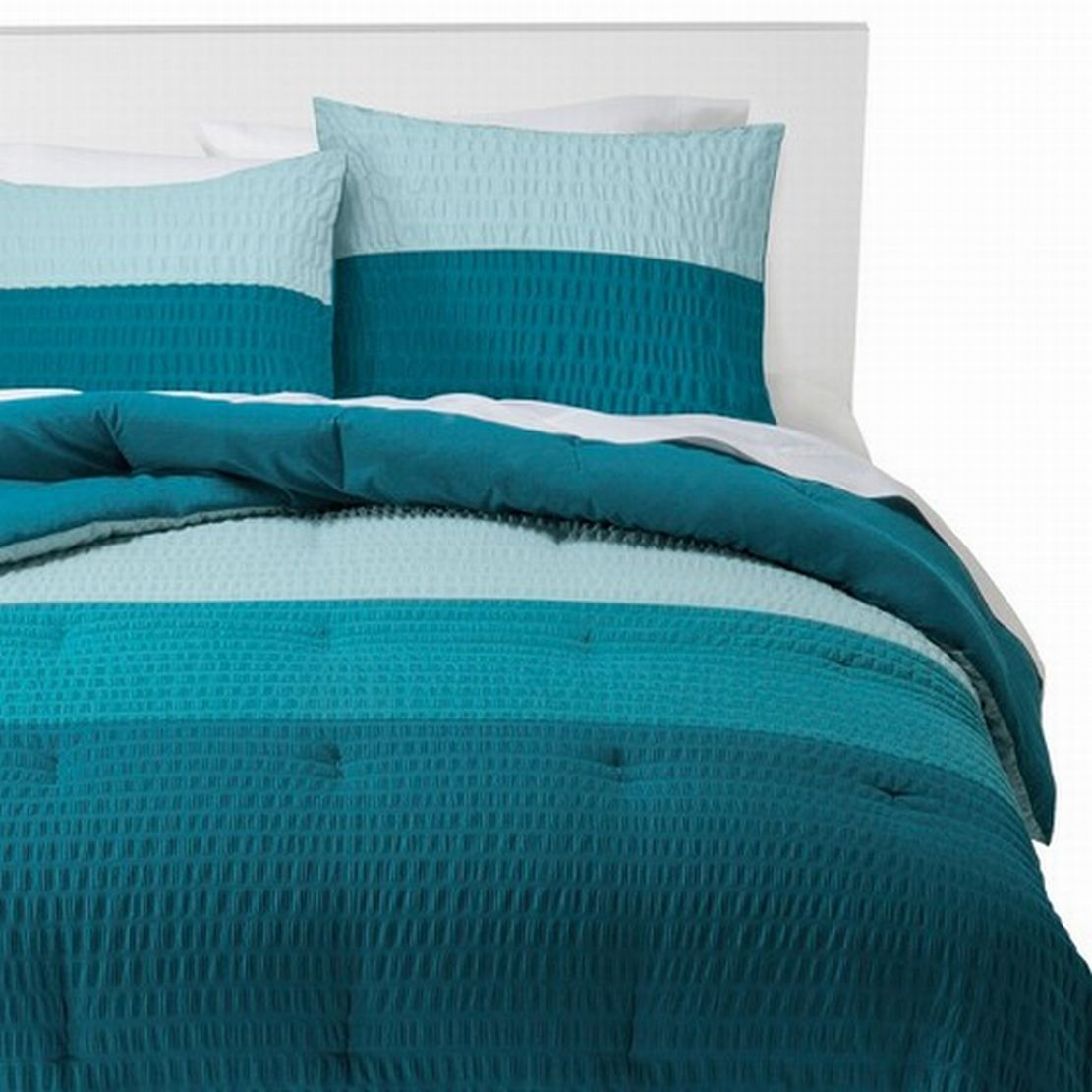 Room Essentials Twin XL Bed Comforter & Sham Set 2-Tone Blue Gathered Textured