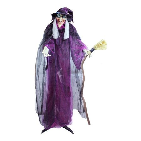 Northlight Seasonal Touch Activated Lighted Standing Witch and Broomstick Animated Halloween Decoration with Sound - Witches For Halloween Decorations