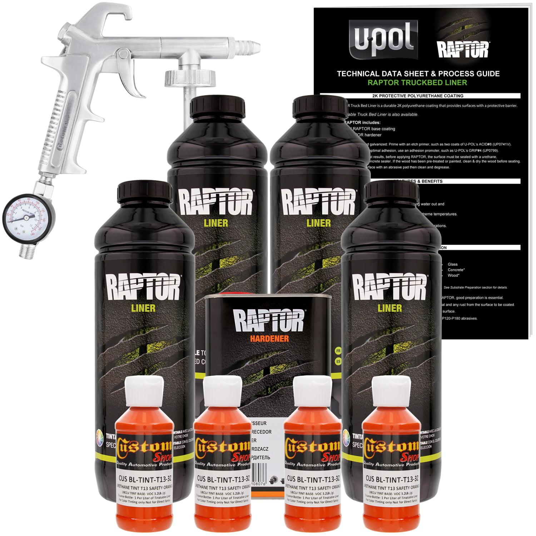 U-POL Raptor Safety Orange Urethane Spray-On Truck Bed Liner Kit w/ FREE Custom Coat Spray Gun with Regulator, 4 Liters