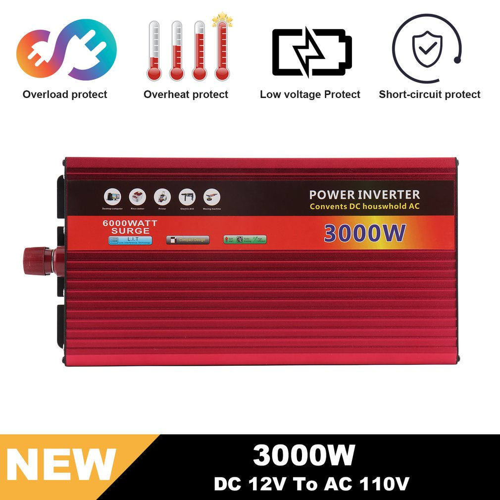 3000W Modified Sine Wave Converter 12V DC To 110V AC Car Power Inverter