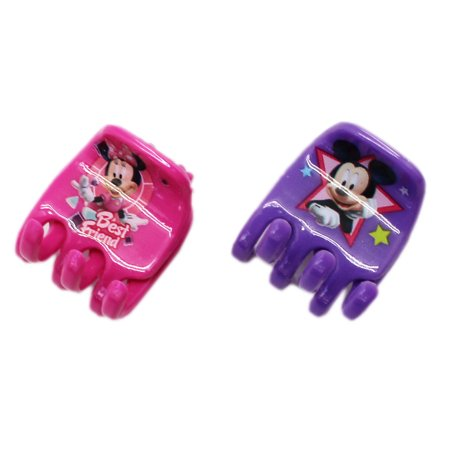 Disney's Minnie and Mickey Mouse Purple and Pink Colored Hair Clips (2 - Minnie Mouse Hair Clips
