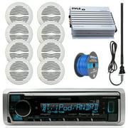"Kenwood Marine Digital Media Bluetooth Receiver, 8x Magnadyne 5"" Waterproof Speakers (White), Pyle 4 Channel Waterproof Amplifier (White), Enrock AM/FM Antenna (Black), 2x Marine 50 FT 16-G Tinned Spe"