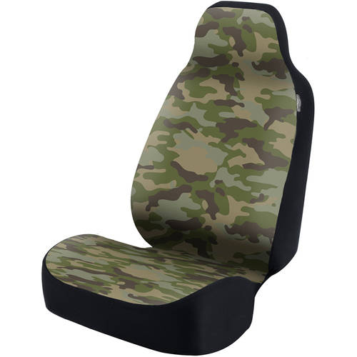Coverking Universal Seat Cover Fashion Print, Ultra Suede, Camo Traditional Jungle with Black Interlock Backing