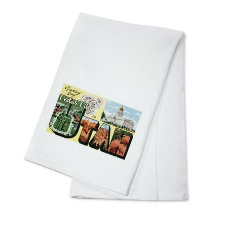 Greetings from Cedar City, Utah - Large Letters Vintage Postcard - Lantern Press Artwork (100% Cotton Kitchen Towel) Postcard State Large Letter