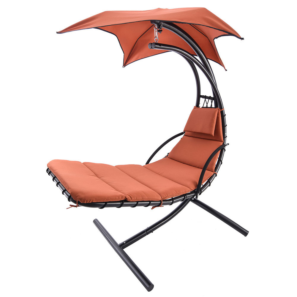 Zimtown Orange Hanging Chaise Lounge Chair Umbrella Patio Furniture