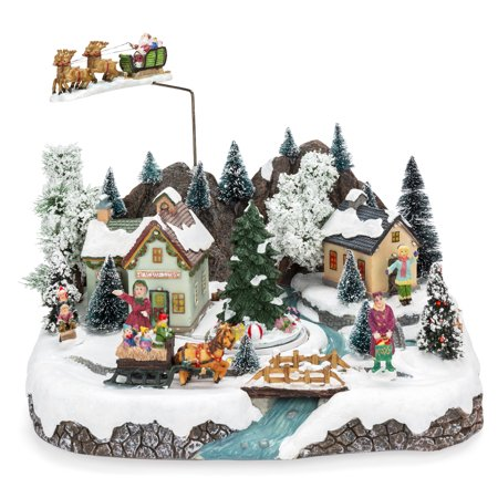 Best Choice Products Animated Musical Pre-Lit Tabletop Christmas Village with Rotating Tree, Santa's Sleigh and (Animated Symphony Of Bells Musical Tabletop Decoration)