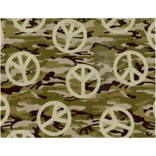 Camo Peace Olive Green Fabric