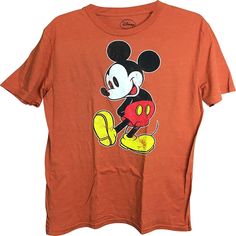 Mickey Mouse Distressed Men's T-Shirt Orange Medium