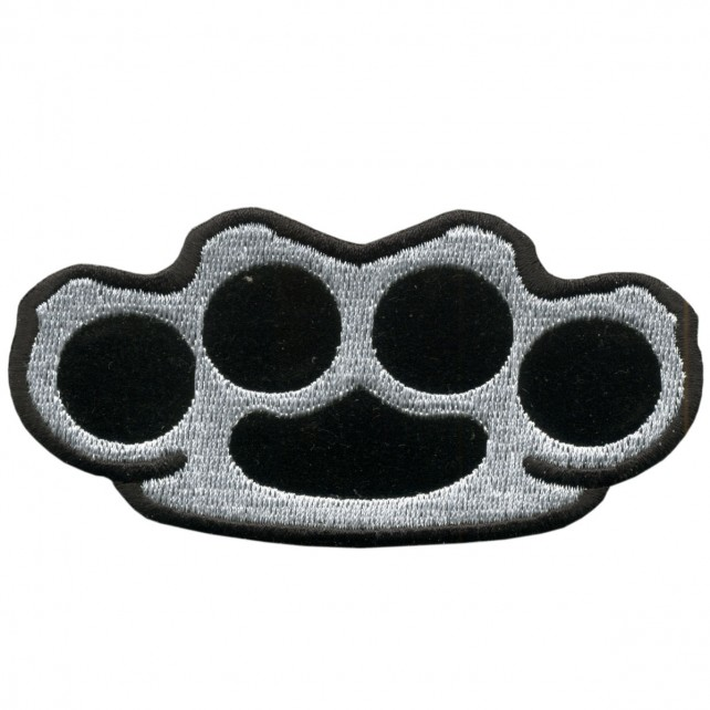 "Brass Knuckles Biker, Embroidered Iron-on / Saw-on Rayon PATCH - 4"" X 2"""
