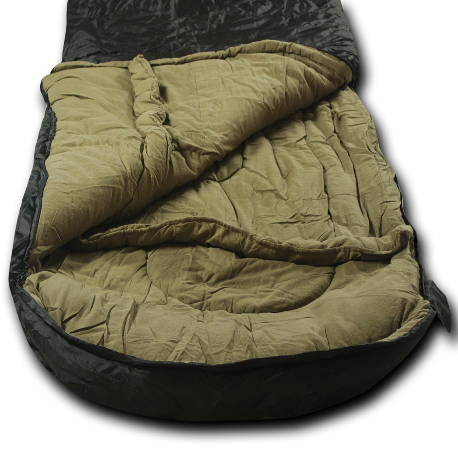 Wolftraders LoNewolf +0 Degree Premium Comfort Ripstop Oversized Square Sleeping Bag, Black Tan by Wolftraders Inc