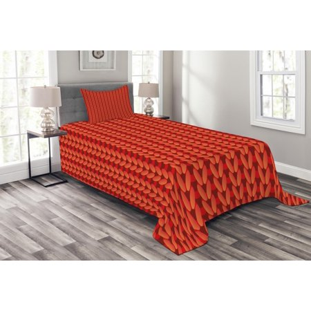 Handmade Quilt Patterns - Modern Bedspread Set, Knitting Design Old Hand Made Vector Seamless Pattern Artwork Image Print, Decorative Quilted Coverlet Set with Pillow Shams Included, Scarlet Red and Black, by Ambesonne