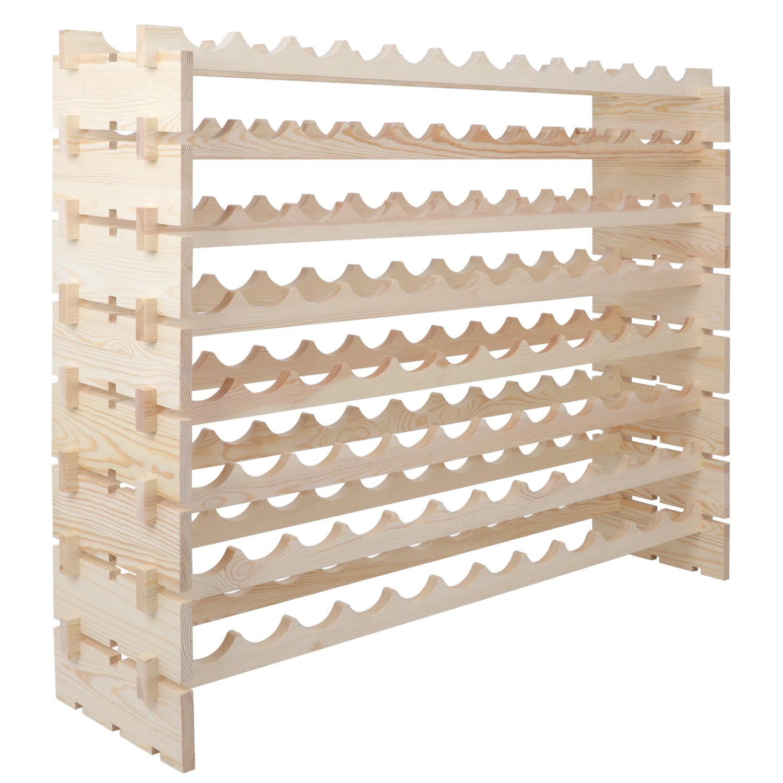 Zeny 96 Bottle Wood Wine Rack Stackable Storage 8 Tier Storage Display Shelves