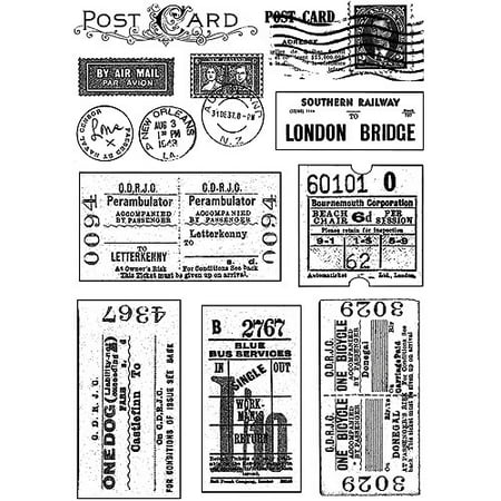 """Crafty Individuals Unmounted Rubber Stamp, 4.75"""" x 7"""", Vintage Tickets and Postmarks"""