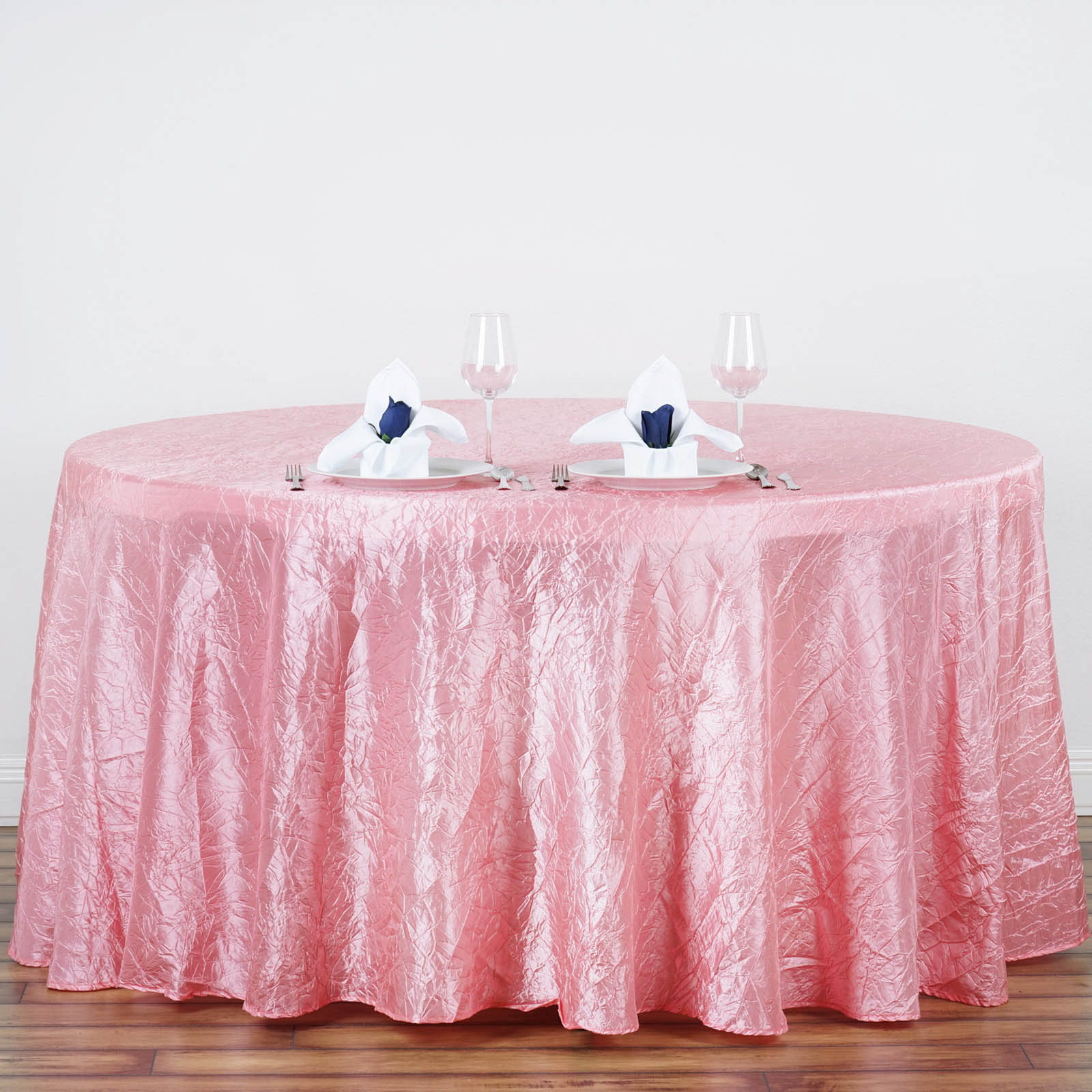 "Efavormart 117"" Crinkle Taffeta Round Tablecloth for Kitchen Dining Catering Wedding Birthday Party Decorations Events"