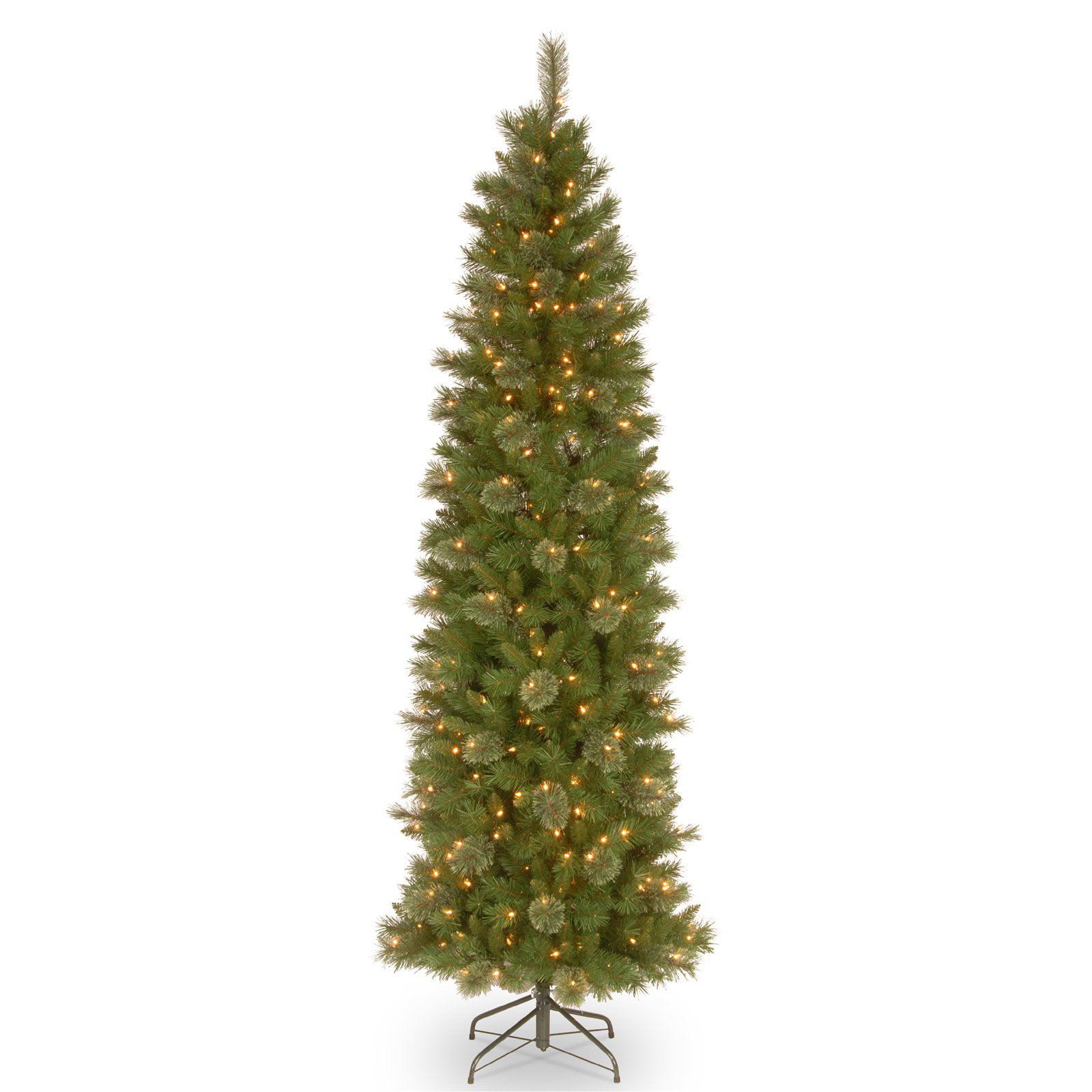 National Tree Company 6.5 ft. Tacoma Pine Pencil Slim Tree with Clear Lights