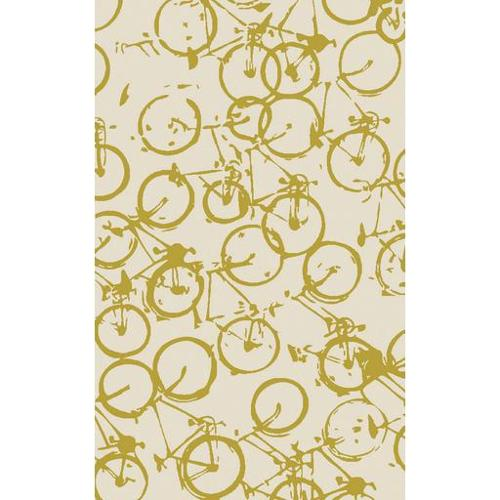 5' x 8' On the Go Bicycle Beige and Gold Wool Throw Area Rug