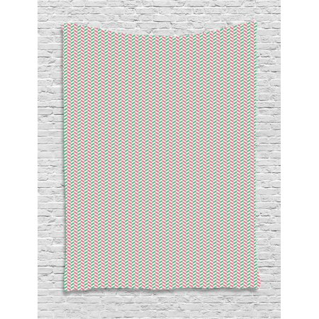 Geometric Tapestry, Vertical White Stripes Different Colored Diagonal Lines Repeating Pattern, Wall Hanging for Bedroom Living Room Dorm Decor, 60W X 80L Inches, White Teal Pink, by Ambesonne