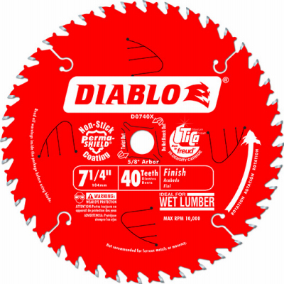 7.25-Inch 40-TPI Carbide-Tipped Finishing Saw Blade - Pack of 10