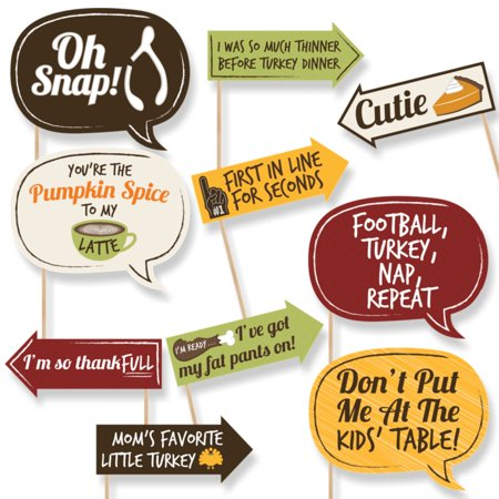 Funny Turkey Day - Thanksgiving Photo Booth Props - 10 Count - Thanksgiving Turkey Crafts