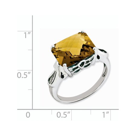Sterling Silver Rhodium Checker-Cut Whiskey Quartz Ring - image 1 de 2