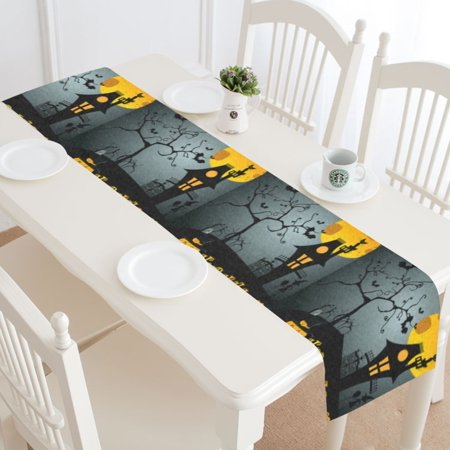MYPOP Halloween Dark Night Table Runner Home Decor 14x72 Inch, Halloween Pumpkin Castle Tree Table Cloth Runner for Wedding Party Banquet Decoration](Halloween Wedding Table Names)
