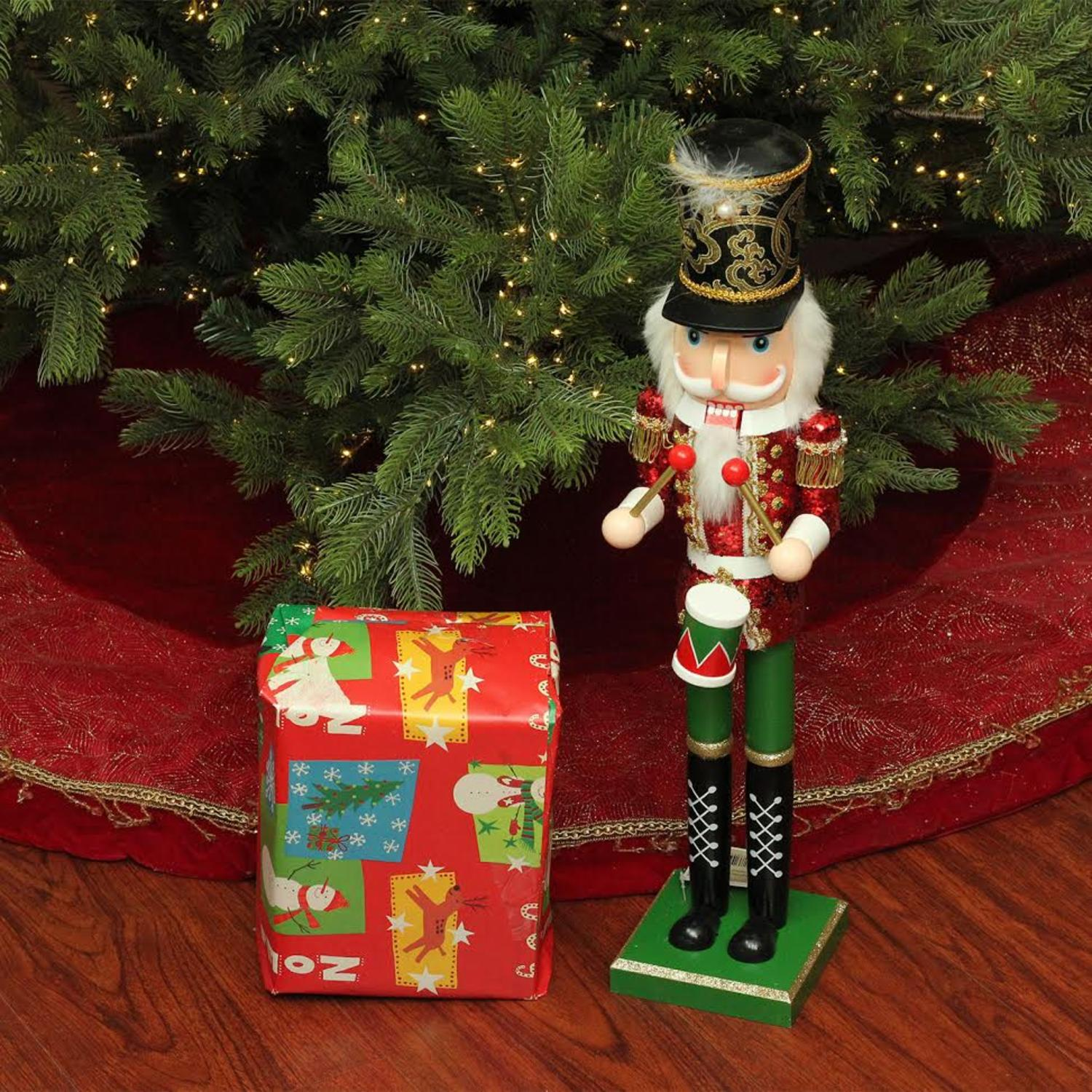 "24"" Decorative Red, Green and Gold Wooden christmas Nutcracker Drummer"