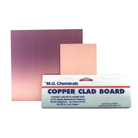 "MG Chemicals 500 Series Copper Clad Prototyping Board with 1 oz Copper, 1/16"" Copper Thick, 2 Side, 6"" Length x 6"" Width, FR4"
