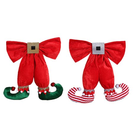 European and American Style Cute Elf Foot Shape Bowknot Christmas Decoration Pendant Hotel Christmas Tree - Elf Christmas Decorations