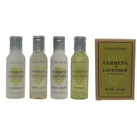 - Crabtree and Evelyn Verbena Travel Set Lotion, Shampoo, Conditioner, Shower Gel, Soap