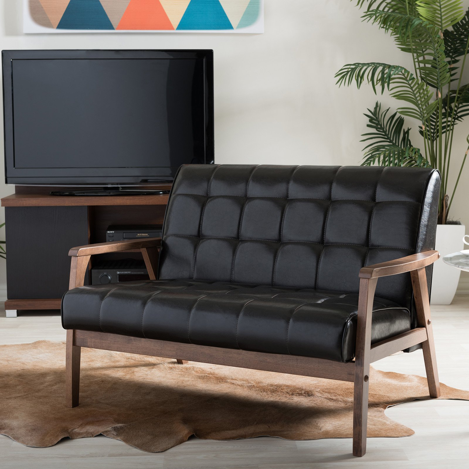 Baxton Studio Mid-Century Masterpieces Loveseat - Brown