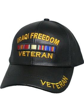 18ab996a244 Product Image US Honor Iraqi Freedom Veteran Ribbon Bar Leather Mens Cap   Black - Adjustable