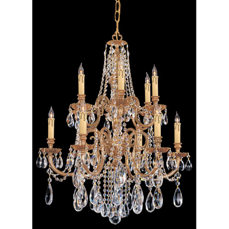 Chandeliers 6 Light With Olde Brass Clear Spectra Clear Crystal Cast Brass 26 inch 360 Watts - World of Lighting 2 6 Inch Solid Brass