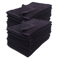 "GHP 24-Pcs Black Color Fast 16""x27"" Cotton Blend Gym Spa Salon Hotel Hand Towels"