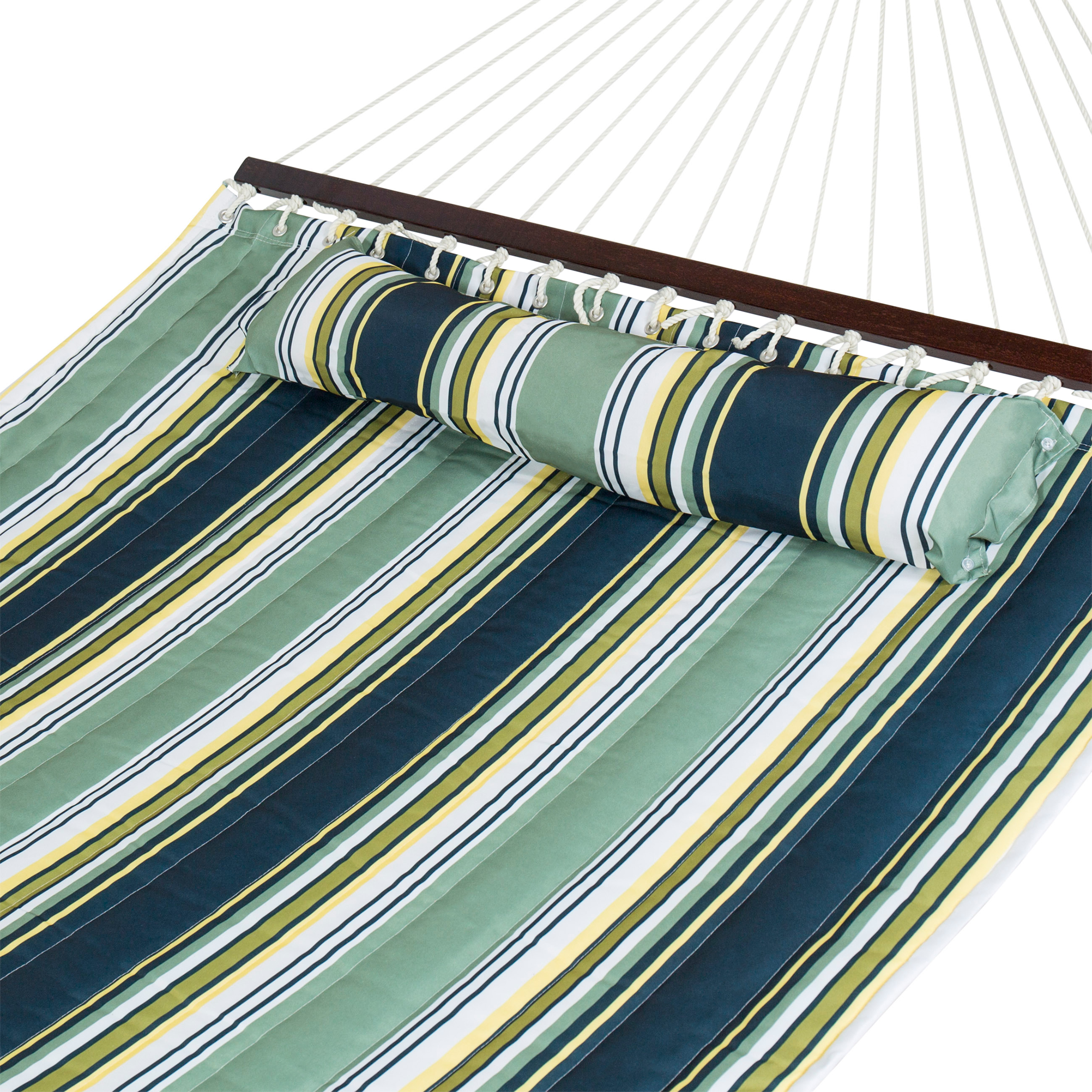 Best Choice Products Quilted Double Hammock w  Detachable Pillow, Spreader Bar Navy Blue and Teal Stripe by Best Choice Products